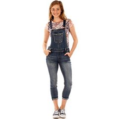Juniors' Wallflower Ripped Denim Overalls
