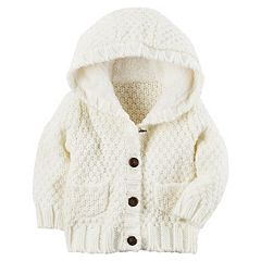 Baby Girl Carter's Sherpa-Lined Knit Jacket