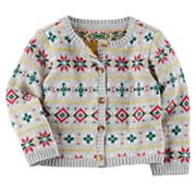 Baby Girl Carter's Holiday Fairisle Cardigan