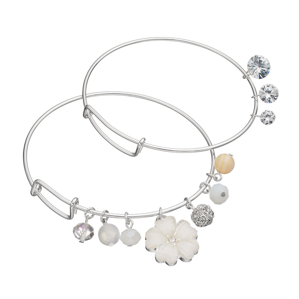 Flower, Shaky Bead & Simulated Crystal Bangle Bracelet Set