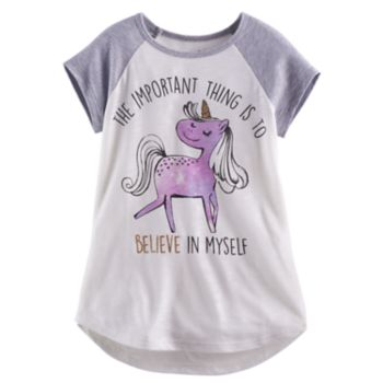 "Girls 4-10 Jumping Beans® ""The Important Thing Is To Believe In Myself"" Unicorn Tee"