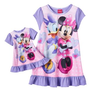 Disney's Minnie Mouse & Daisy Duck Toddler Girl Ruffled Nightgown & Doll Dress Set