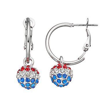 Red, White & Blue Fireball Nickel Free Hoop Earrings