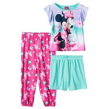 Disney's Minnie Mouse Toddler Girl Top, Shorts & Pants Pajama Set