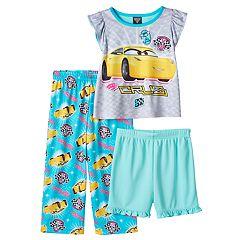 Disney / Pixar Cars 3 Toddler Girl Cruz Pajama Top, Shorts & Pants Set