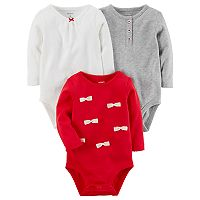 Baby Girl Carter's 3-pk. Long Sleeve Bodysuits