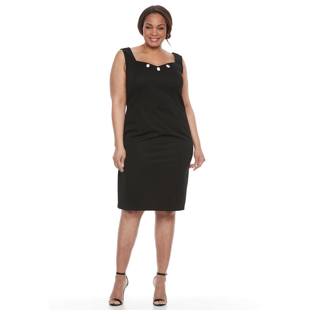 Plus Size Maya Brooke Solid Sheath Dress & Striped Jacket Set