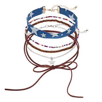 Star Denim, Faux Suede Lariat & Beaded Choker Necklace Set