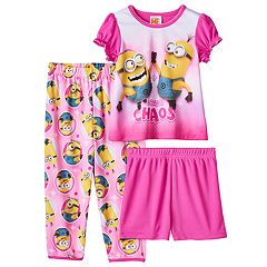 Toddler Girl Despicable Me Top, Shorts & Pants Pajama Set