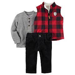 Baby Boy Carter's Buffalo Checkered Vest, Thermal Henley Tee & Corduroy Pants Set