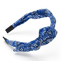 Blue Bandana Print Knotted Headband