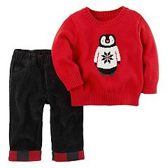 Baby Boy Carter's Penguin Sweater & Corduroy Pants Set