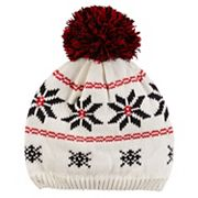 Baby Girl Carter's Pom-Pom Fairisle Knit Beanie Hat