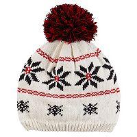 Baby Girl Carter's Pom-Pom Fairisle Knit Beanie Hat