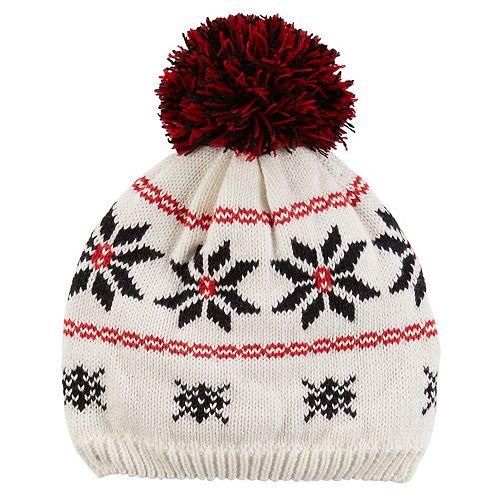 e722bddf4db Baby Girl Carter s Pom-Pom Fairisle Knit Beanie Hat
