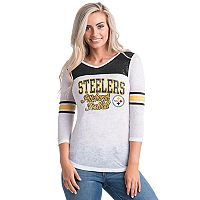 Women's 5th & Ocean by New Era Pittsburgh Steelers Burnout Tee