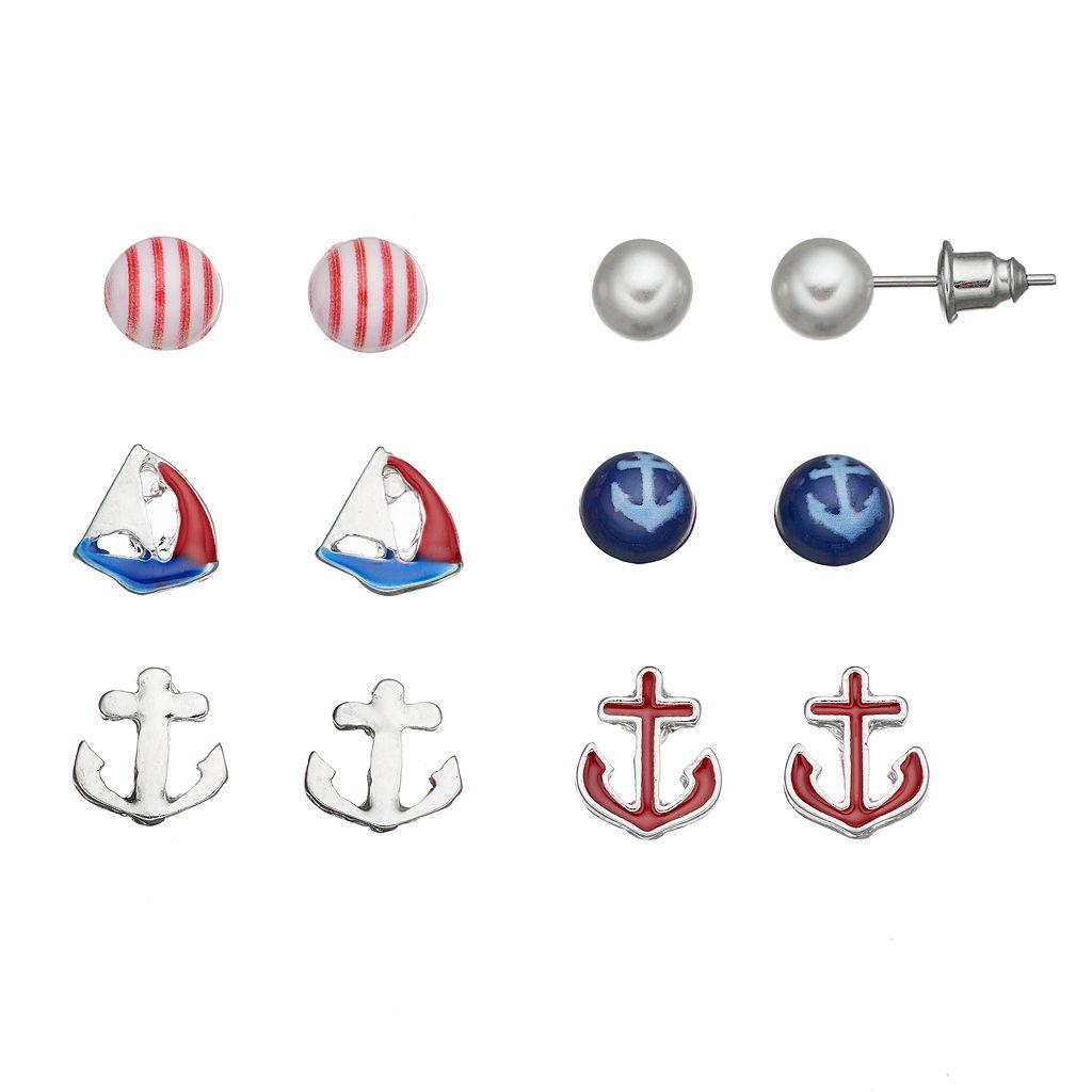 Anchor & Sailboat Nickel Free Stud Earring Set