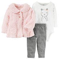 Baby Girl Carter's Sherpa Cardigan, Mouse Bodysuit & Leggings Set