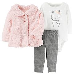 Baby Girl Carter's Sherpa Cardigan, Mouse Bodysuit & Leggings Set