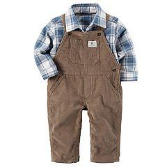 Baby Boy Carter's Plaid Button Down Shirt & Corduroy Overalls Set