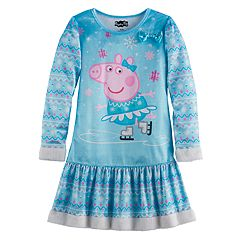 Girls 4-8 Peppa Pig Faux-Fur Trim Nightgown