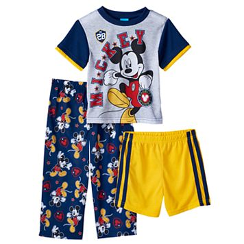 Disney's Mickey Mouse Toddler Boy Varsity Tee, Shorts & Pants Pajama Set