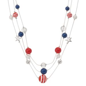 Red, White & Blue Bead & Star Multi Strand Necklace