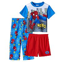 Toddler Boy Marvel Spider-Man Tee, Shorts & Pants Pajama Set