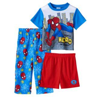 Toddler Boy Marvel Spider-Man Tee, Shorts & Pants Pajama Set
