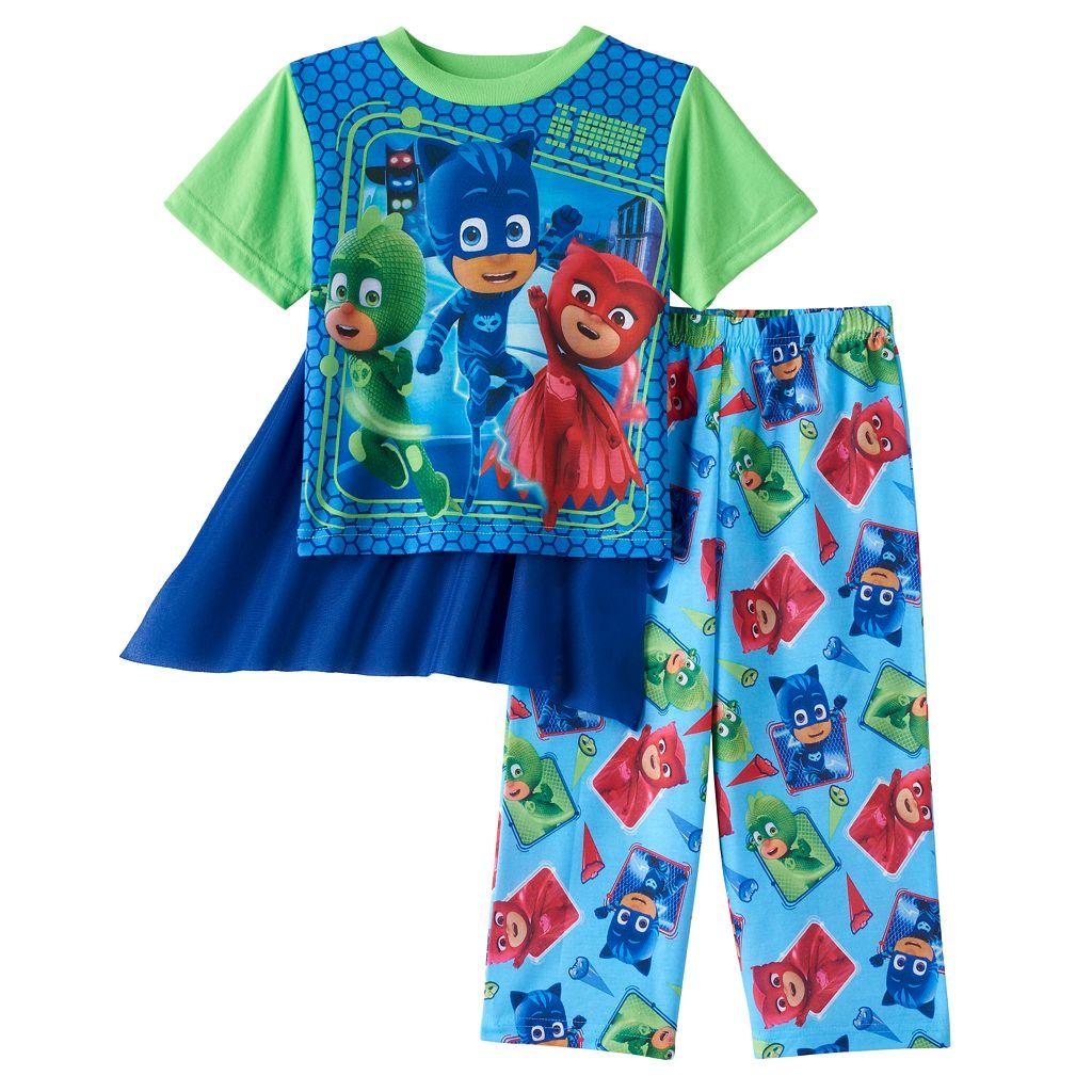 Toddler Boy PJ Masks Owlette, Gekko & Catboy Top with Cape & Pants Pajama Set