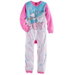 """Girls 4-12 Peanuts Snoopy & Woodstock """"Joy"""" Blanket Sleeper Pajamas"""
