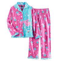 Girls 4-8 Peppa Pig Ice Skating Button-Front Top & Bottoms Pajama Set