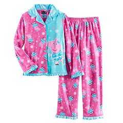 Girls 4-8 Peppa Pig Ice Skating Button-Front Top & Bottoms Pajama Set