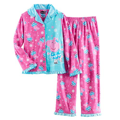 Girls 4 8 Peppa Pig Ice Skating Button Front Top Bottoms Pajama Set