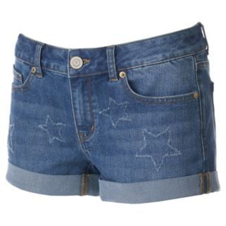Juniors' SO® Cuffed Star Jean Shortie Shorts