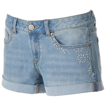 Juniors' SO® Embellished Cuffed Jean Shortie Shorts