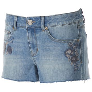 Juniors' SO® Floral Embroidered Jean Shortie Shorts