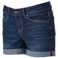 Juniors' SO® Dark Wash Cuffed Midi Jean Shorts