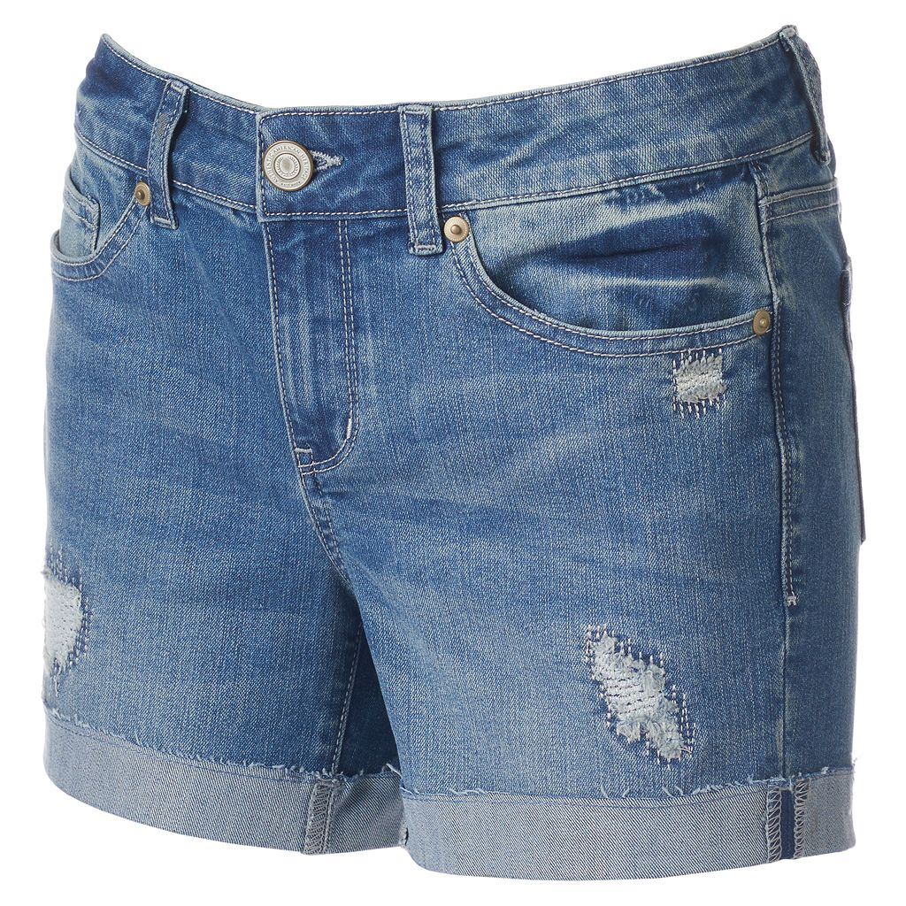Juniors' SO® Ripped Midi Jean Shorts