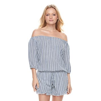 Women's E by Elan Striped Off-the-Shoulder Romper