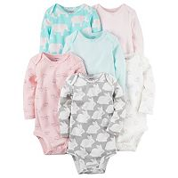 Baby Girl Carter's 6-pk. Print Long Sleeve Bodysuits