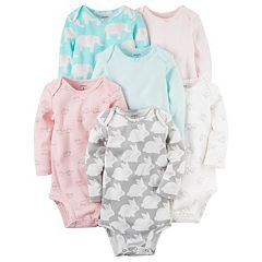 Baby Girl Carter's 6 pkPrint Long Sleeve Bodysuits