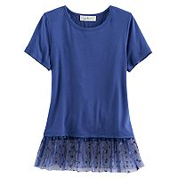 Girls 7-16 & Plus Size Cloud Chaser Tulle Hem Patterned Tee
