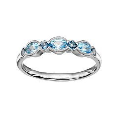 Sterling Silver Swiss & London Blue Topaz Stack Ring