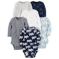 Baby Boy Carter's 6-pk. Print Long Sleeve Bodysuits