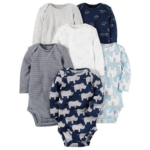 Baby Boy Carter's 6-pk. Print Long Sleeve Bodysuits