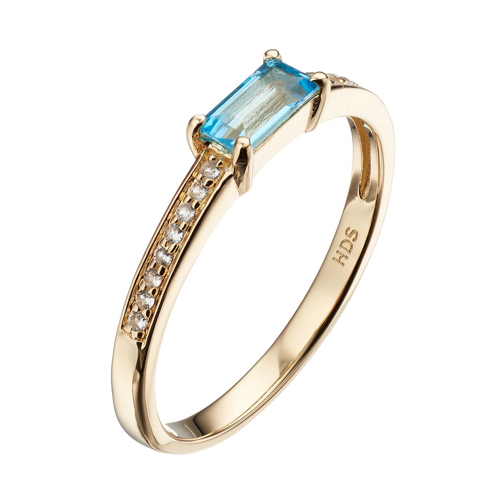 14k Gold Over Silver Swiss Blue Topaz & White Sapphire Stack Ring