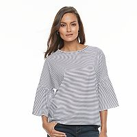 Women's Olivia Sky Striped Bell-Sleeve Top