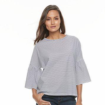 Women's Olivia Sky Striped Bell-Sleeve Top