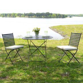 Cambridge Outdoor Bistro Table & Folding Chair 3-piece Set